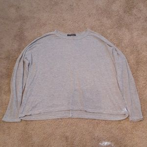 Brandy Melville Gray Ribbed Long Sleeve top